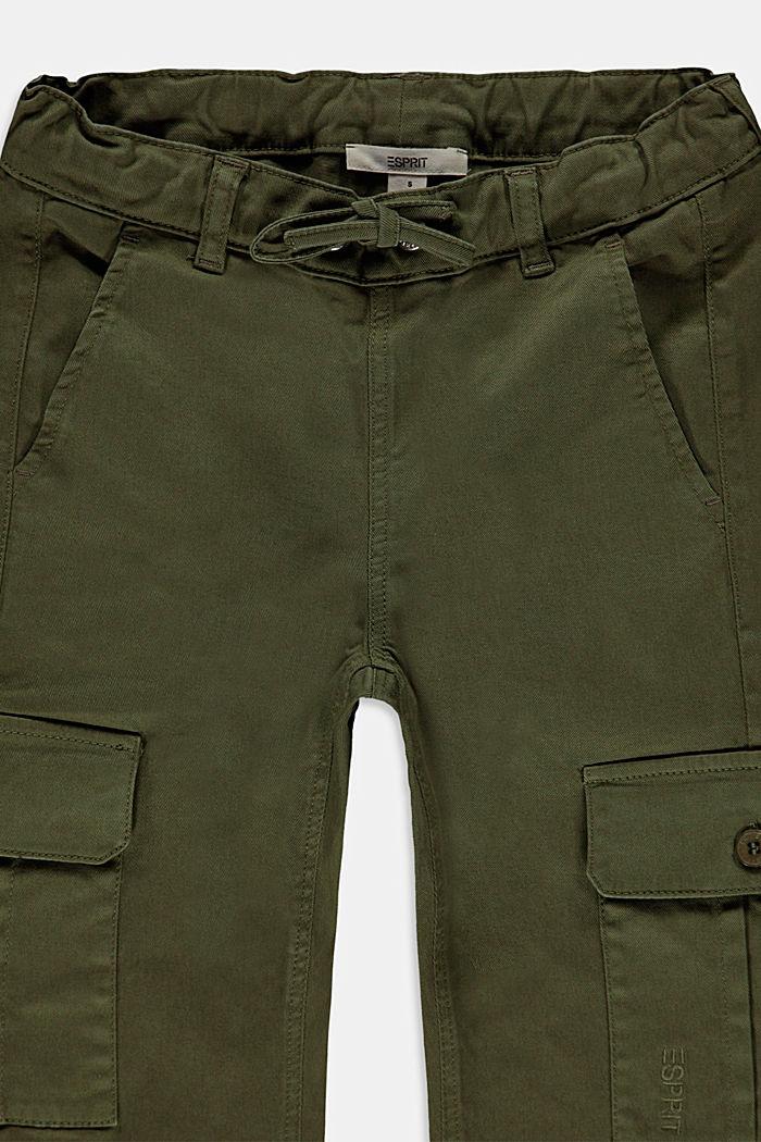 Pantalón estilo cargo con cintura ajustable, algodón ecológico, KHAKI GREEN, detail image number 2