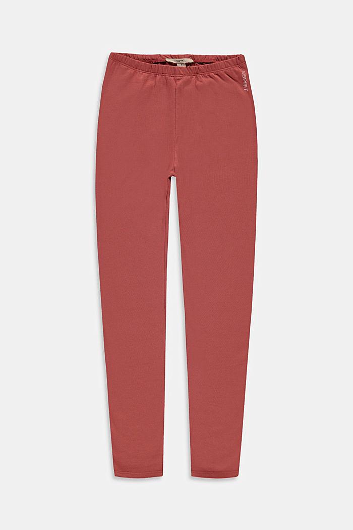 Basic stretch cotton leggings, DARK MAUVE, detail image number 0