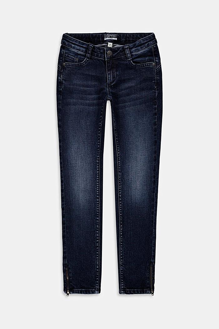 Stretch-Jeans mit Zippern aus Baumwoll-Mix