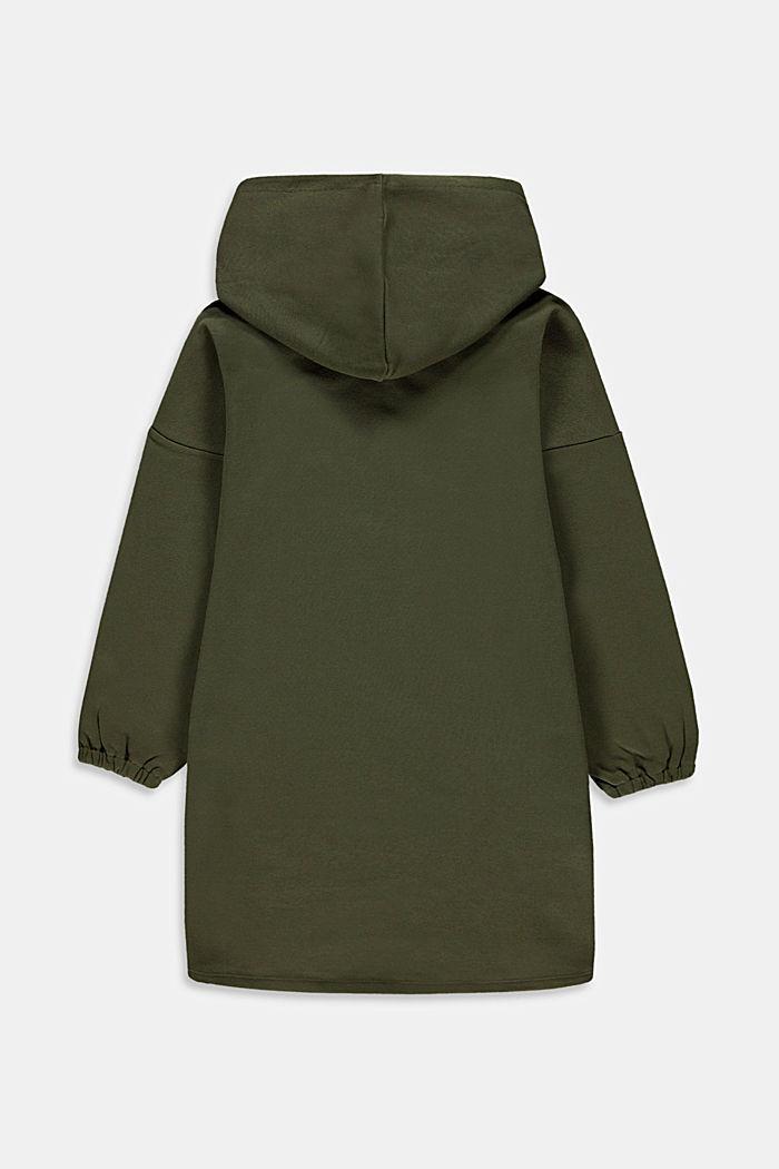 Sweat-Kleid mit Print aus 100% Baumwolle, KHAKI GREEN, detail image number 1