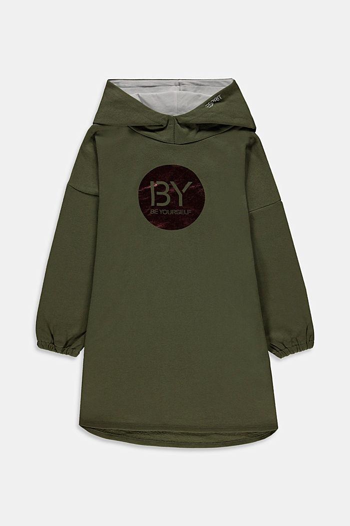 Sweat-Kleid mit Print aus 100% Baumwolle, KHAKI GREEN, detail image number 0