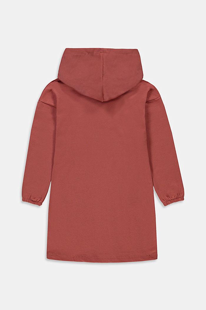 Sweat-Kleid mit Print aus 100% Baumwolle, DARK MAUVE, detail image number 1