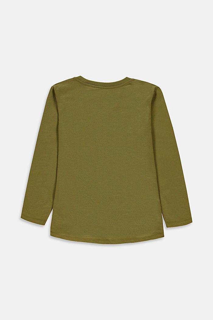 Koszulka z długim rękawem z kieszonką na piersi, 100% bawełny, LEAF GREEN, detail image number 2