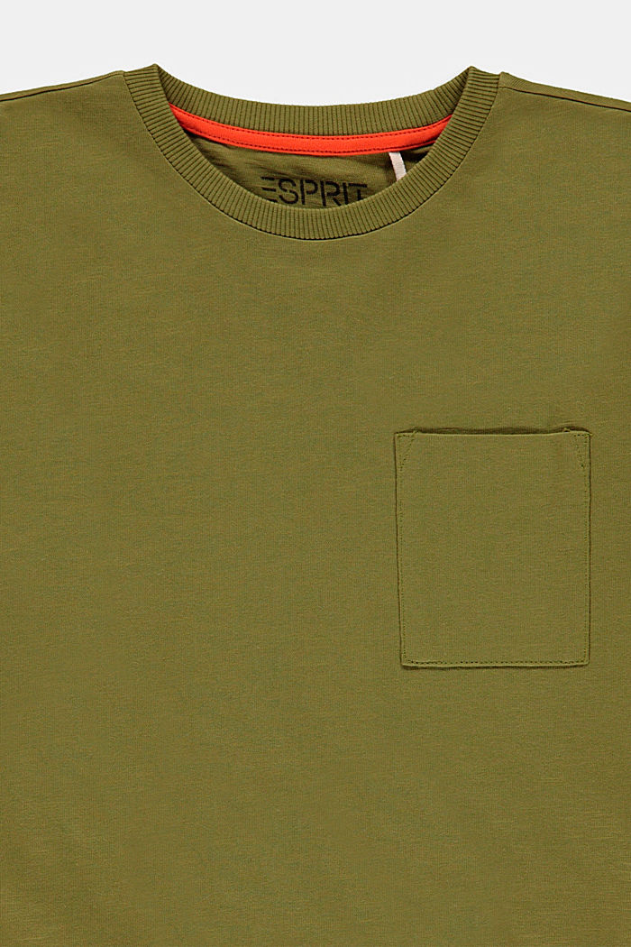 Camiseta de manga larga con bolsillo en el pecho, 100% algodón