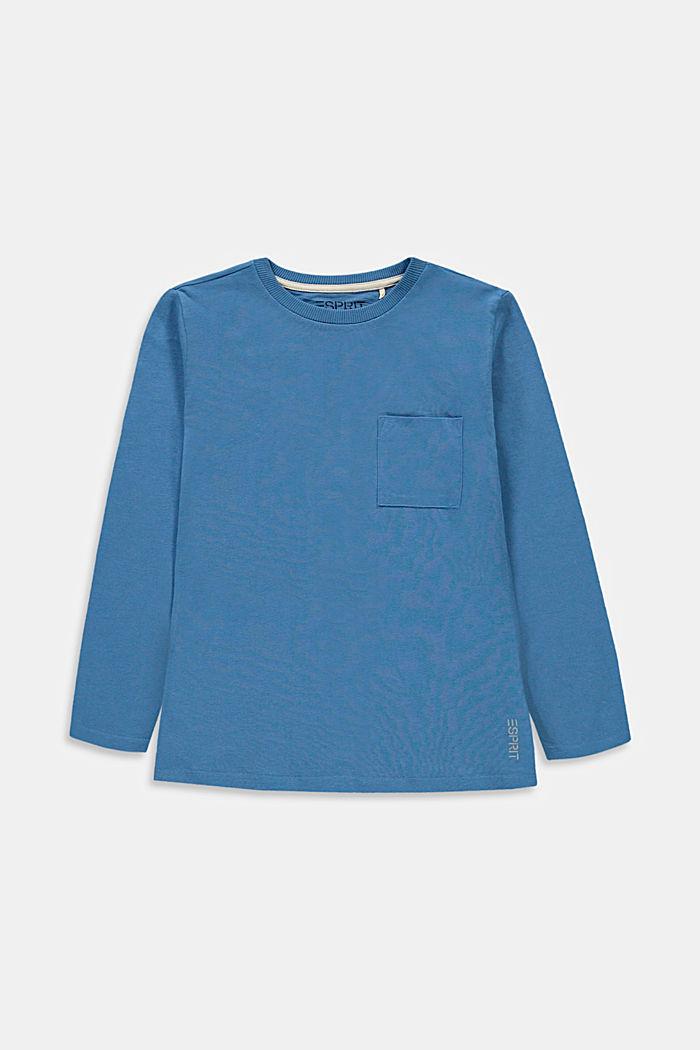 T-shirt à manches longues et poche-poitrine, 100% coton, LIGHT BLUE, detail image number 0
