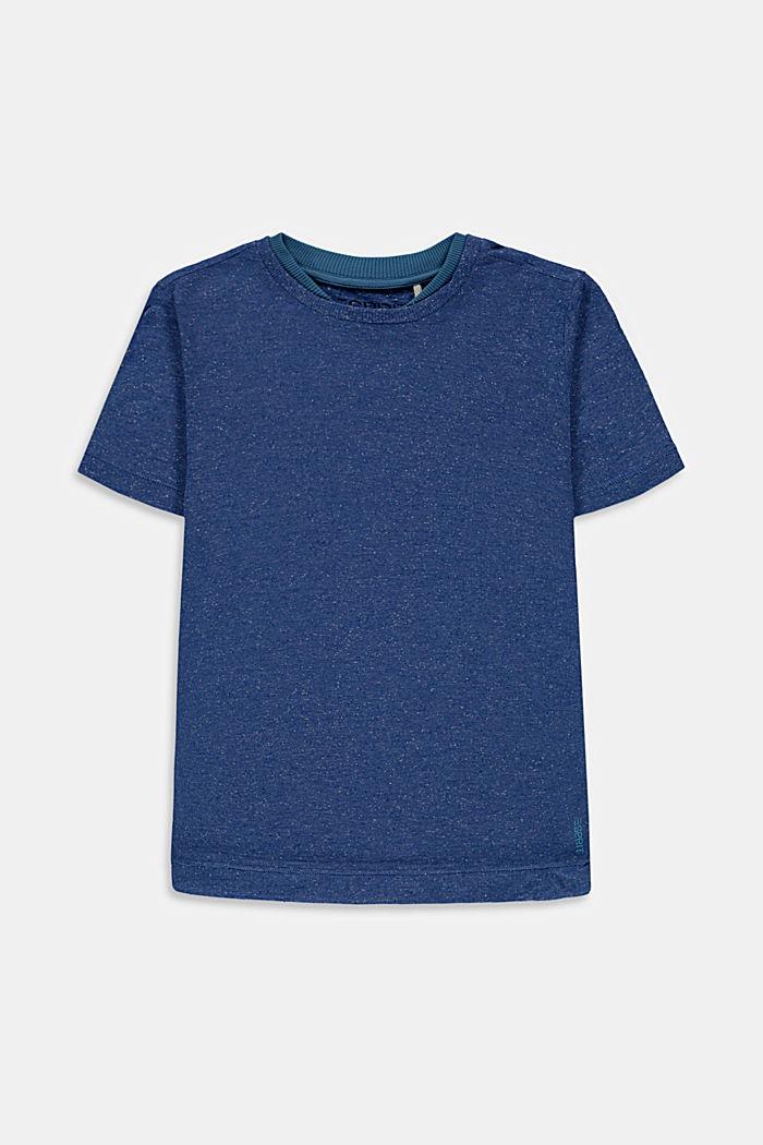 T-shirt con doppio colletto in cotone, BLUE, detail image number 0