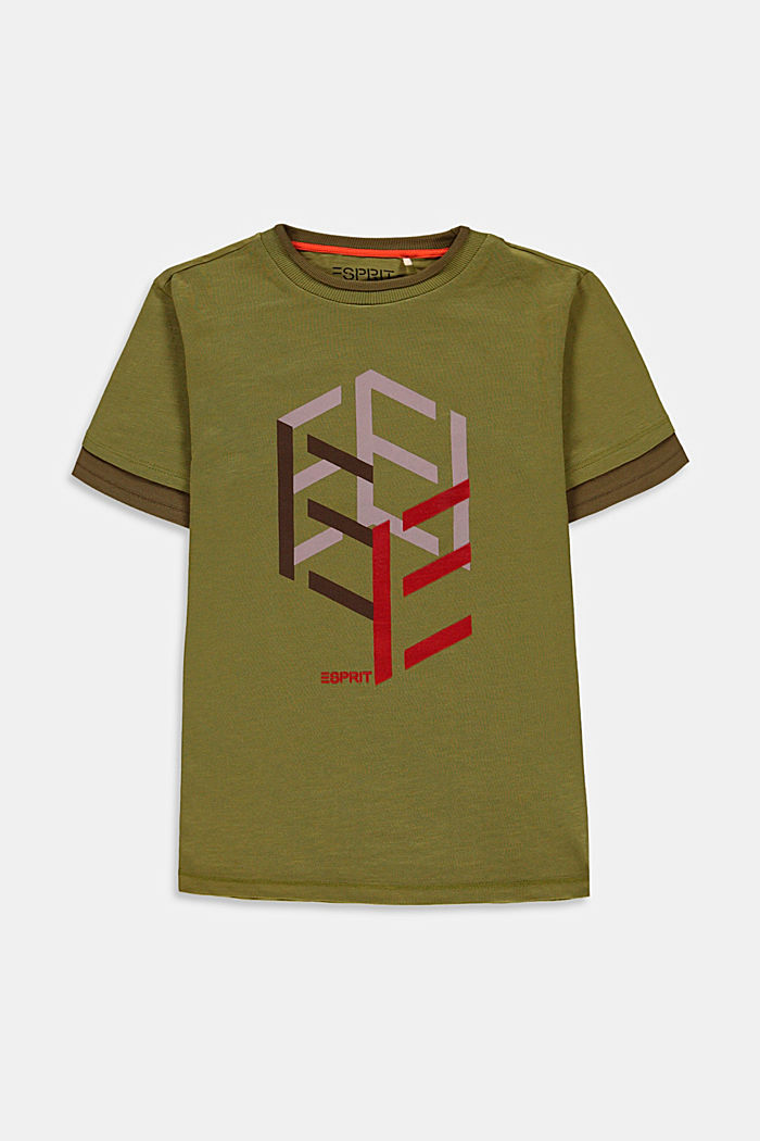 T-Shirt im Lagenlook mit Print, LEAF GREEN, detail image number 0