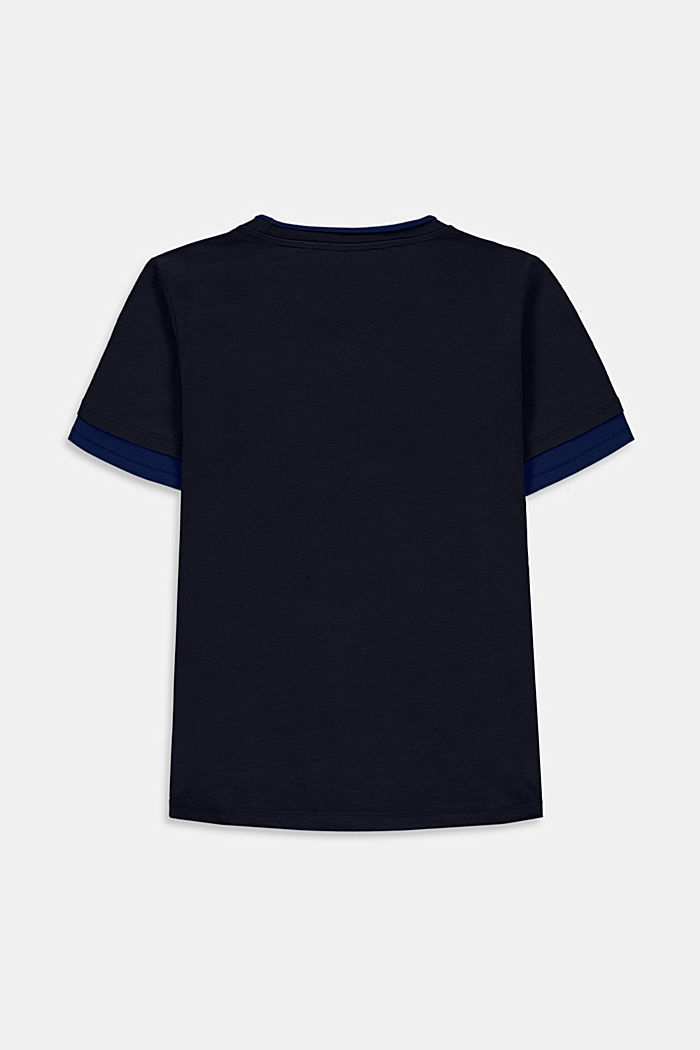 Layered look T-shirt with print, NAVY, detail image number 1