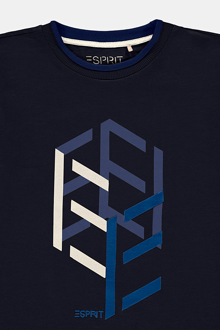 Layered look T-shirt with print, NAVY, detail image number 2