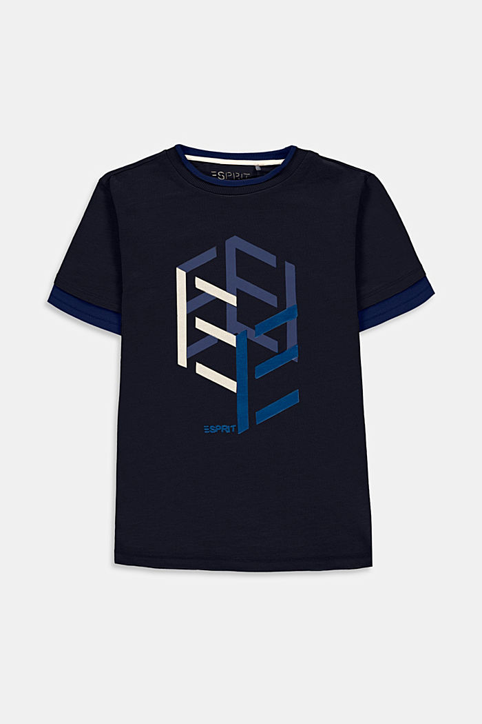 Layered look T-shirt with print, NAVY, detail image number 0