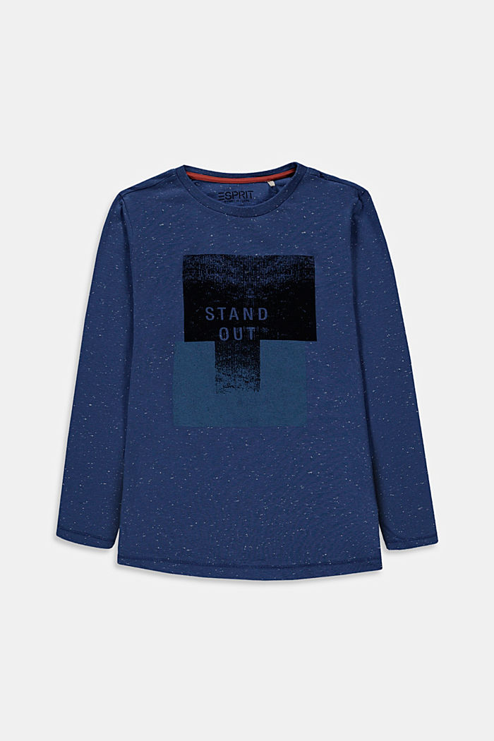 Camiseta de manga larga estampada, 100% algodón, BLUE, detail image number 0