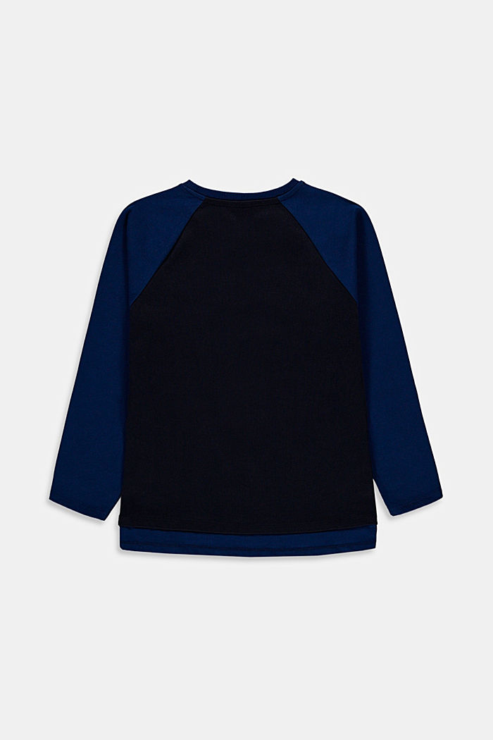 Bluzka z długim rękawem z nadrukiem 3D ze 100% bawełny, NAVY, detail image number 1