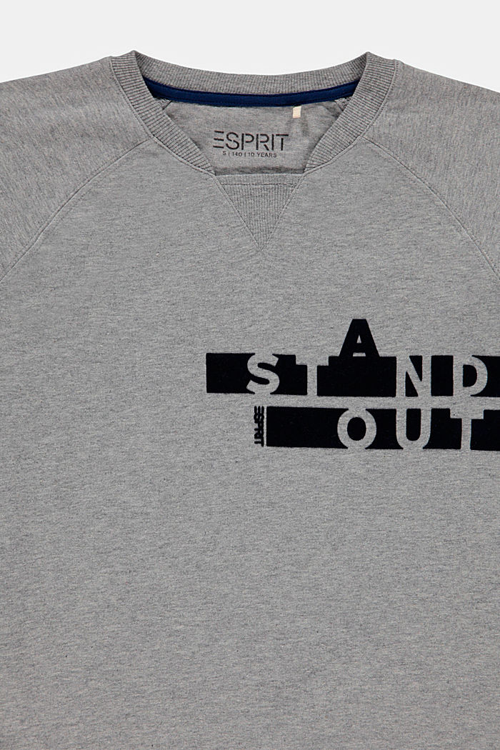 En matière recyclée: le t-shirt à manches longues et imprimé velouté, PASTEL GREY, detail image number 2