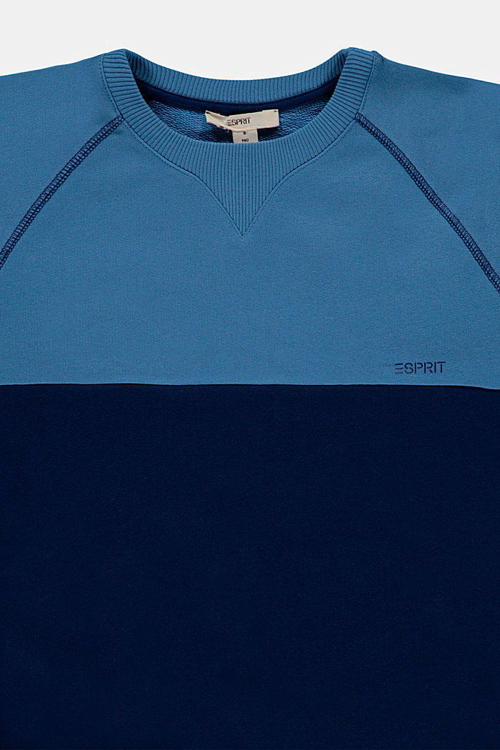 Colour block sweatshirt in 100% cotton, LIGHT BLUE, detail image number 2