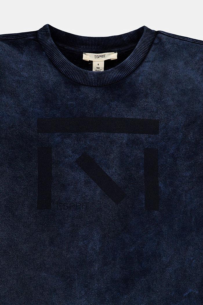 Sudadera con estampado artístico, BLUE DARK WASHED, detail image number 2