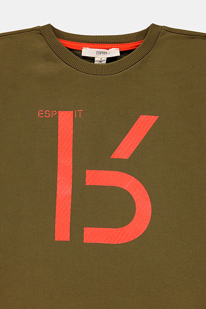 Sweatshirt with a print, 100% cotton, OLIVE, detail image number 2