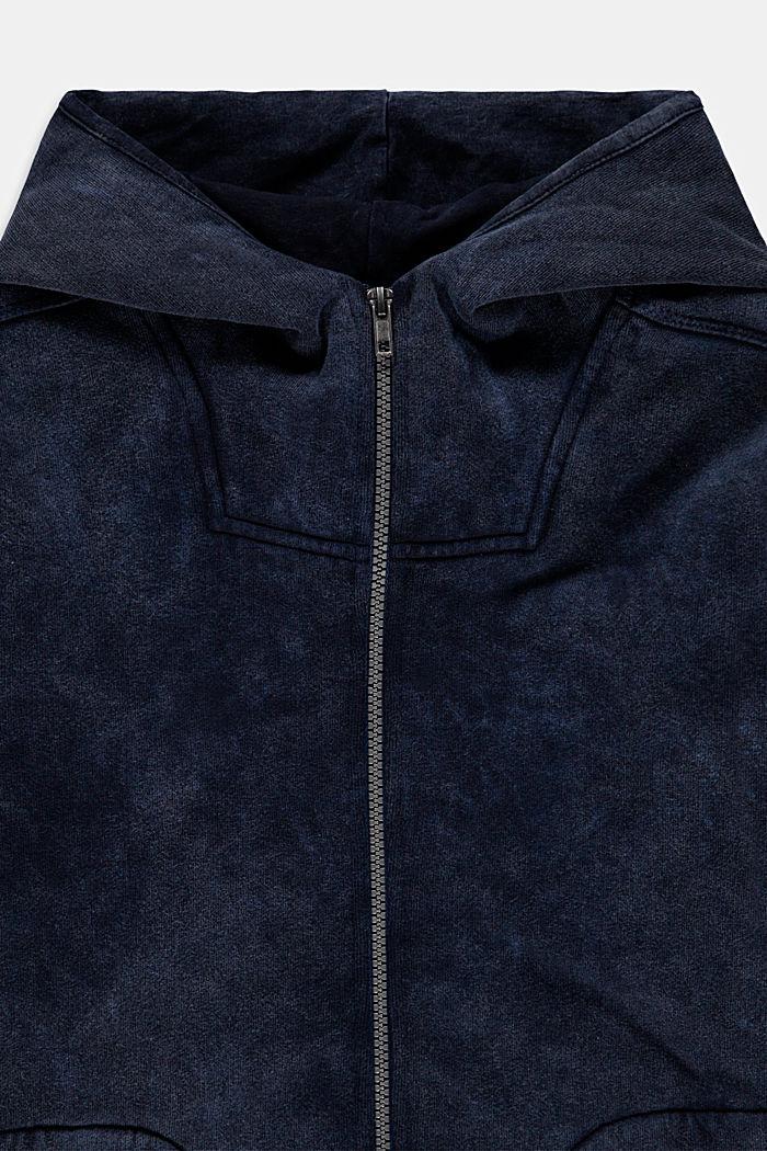 Sweat à capuche zippé au look lavé en pur coton, BLUE DARK WASHED, detail image number 2