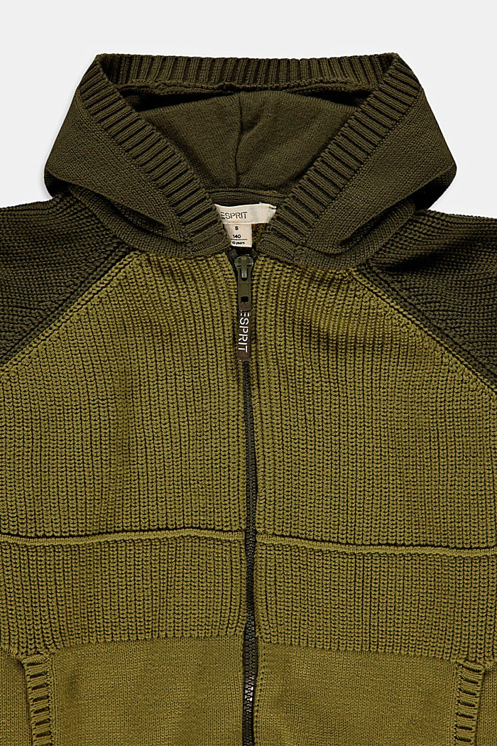 Zip-up cardigan with a hood, made of blended cotton, LEAF GREEN, detail image number 2