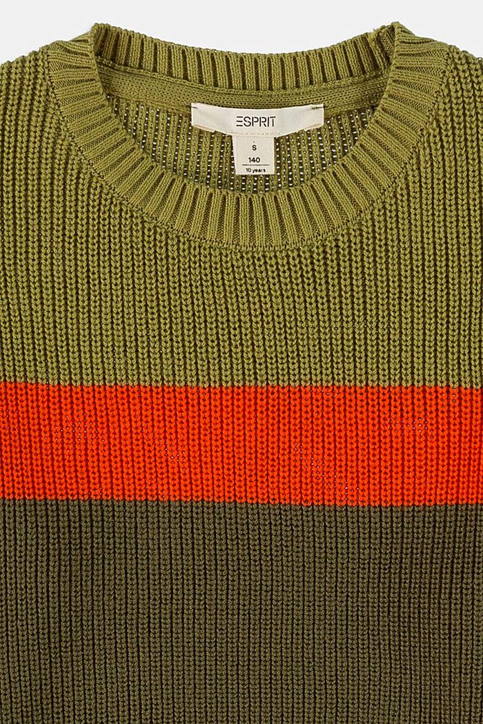 Pullover mit Kontraststreifen aus Baumwolle, OLIVE, detail image number 2