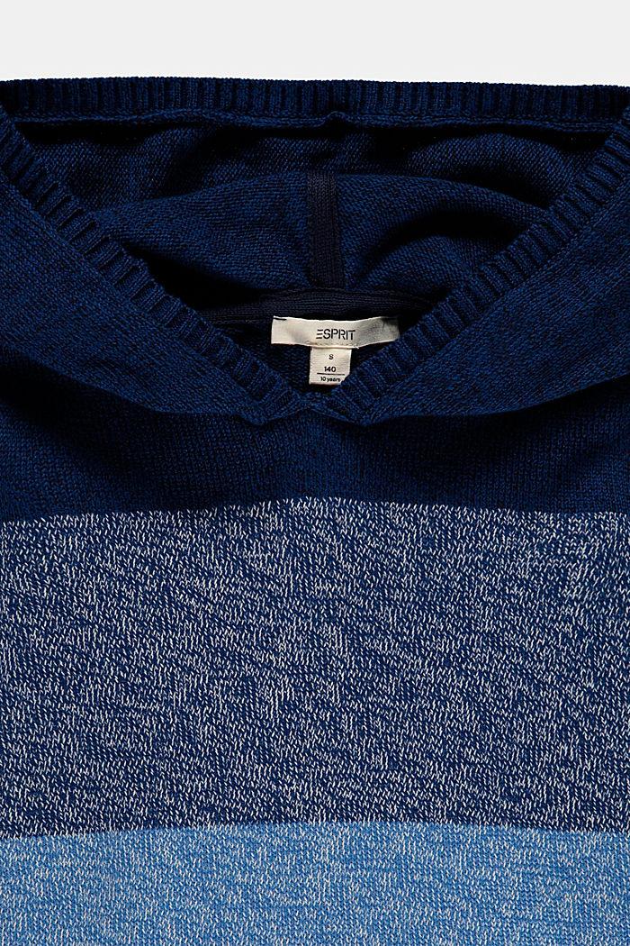Sweter z kapturem w szerokie pasy, BLUE, detail image number 2