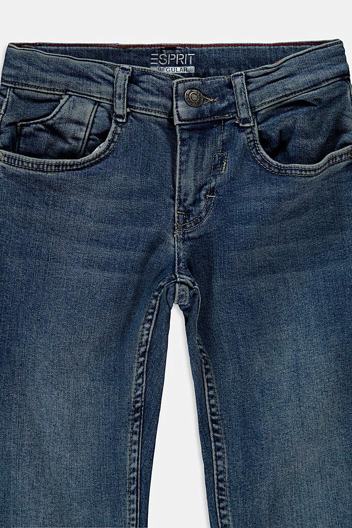 En matière recyclée: le jean stretch à taille ajustable, BLUE MEDIUM WASHED, detail image number 2