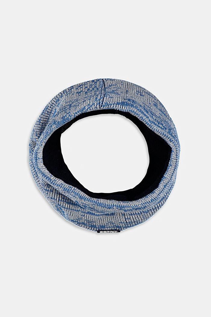 Loop-Schal mit Fleece aus Baumwoll-Mix, BLUE, detail image number 0