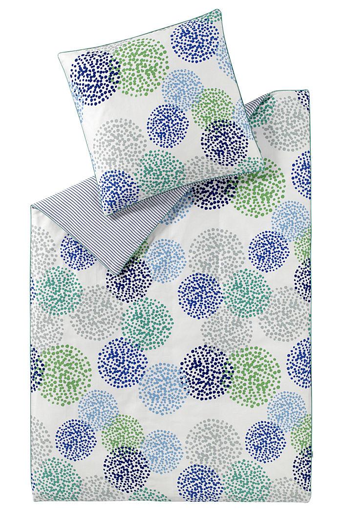 Gemusterte Bettwäsche aus Baumwoll-Satin, BLUE-GREEN, detail image number 2