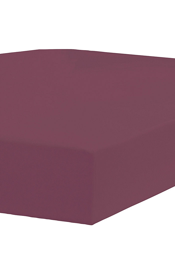 Jersey-Spannbettlaken mit Baumwolle, DARK RED, detail image number 1