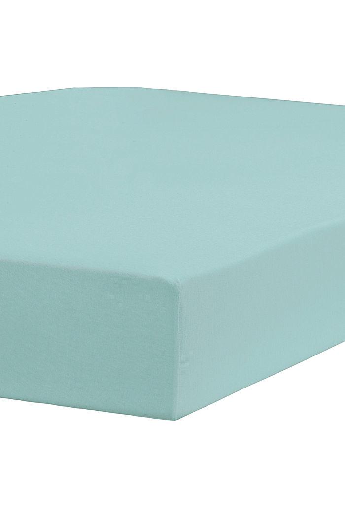 Jersey-Spannbettlaken mit Baumwolle, AQUA, detail image number 1