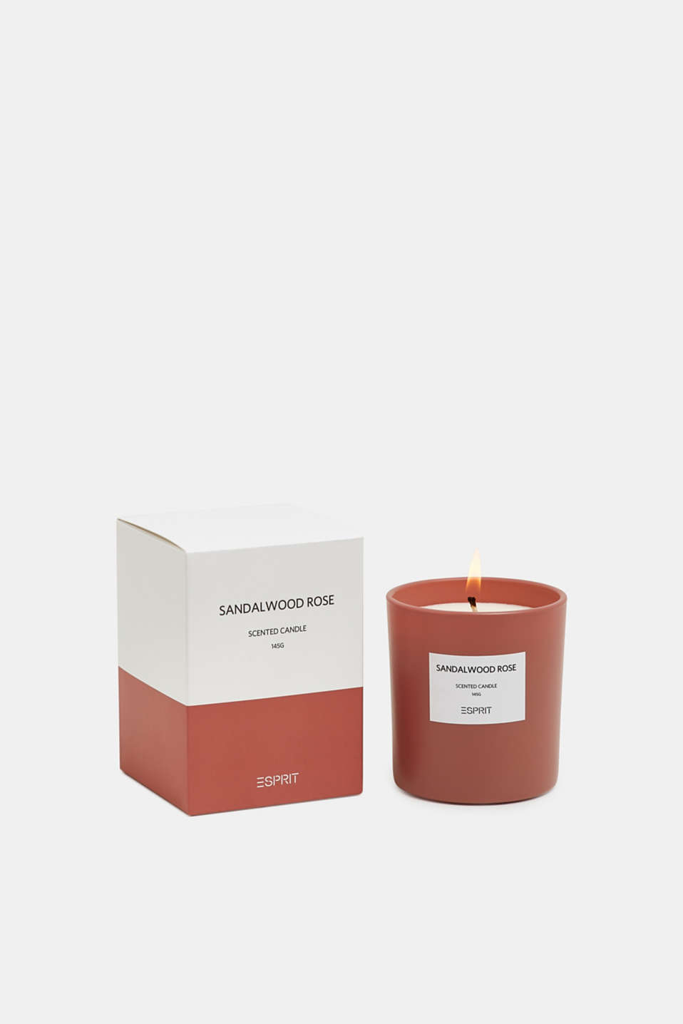 Scented candle in a glass container, MATT BRICK RED, detail image number 2