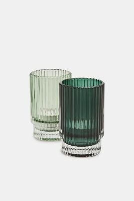 Set of two glass tealight holders, GREEN, detail