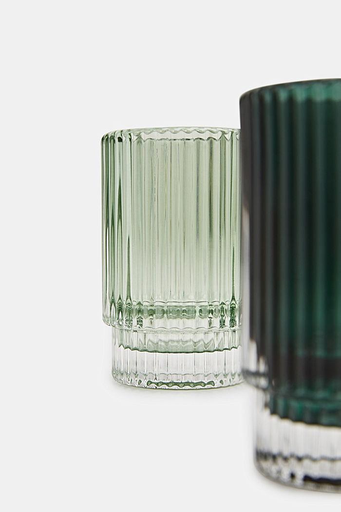 2er- Set Teelichthalter aus Glas, GREEN, detail image number 1