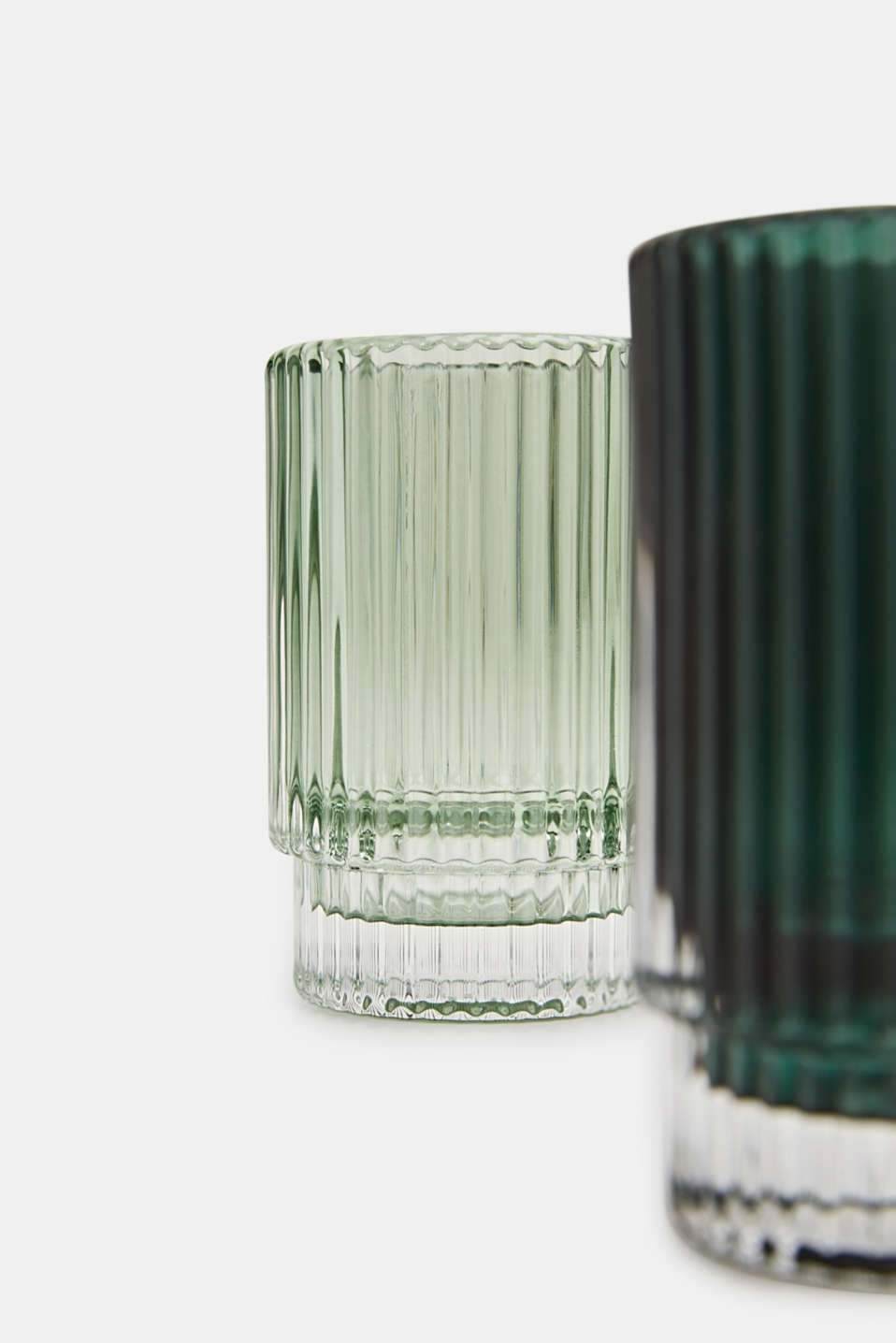 Set of two glass tealight holders, GREEN, detail image number 1