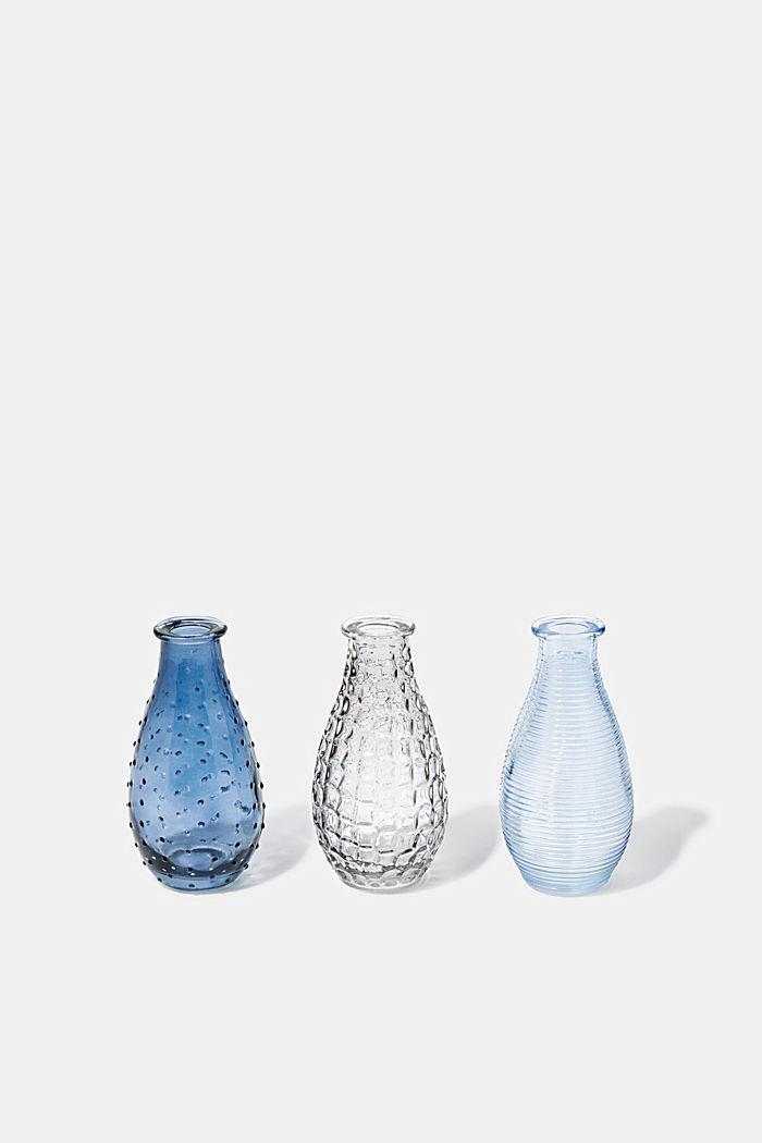 3er-Set: Vasen aus Struktur-Glas, BLUE, detail image number 0