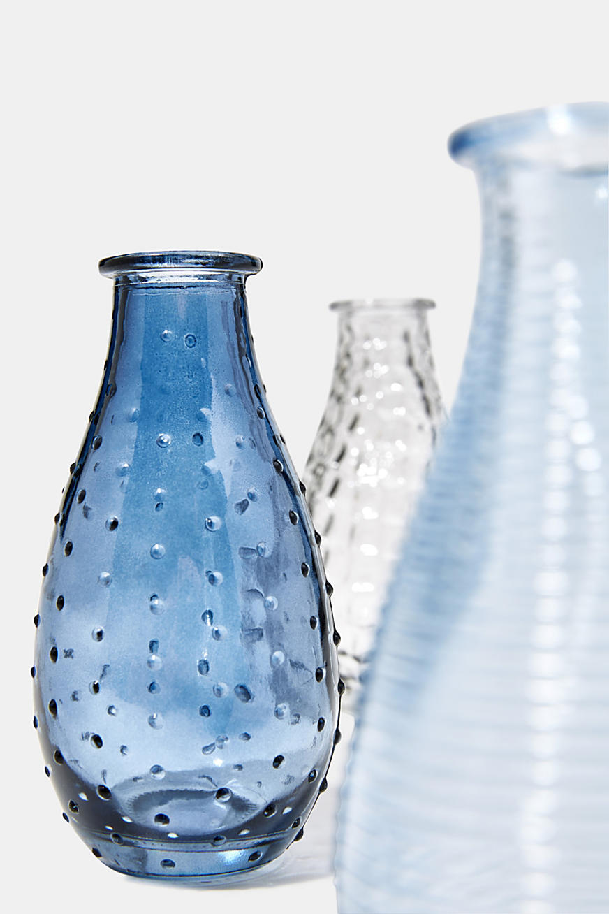 Set of three: vases made of textured glass