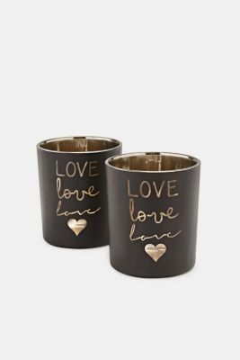 Set of two glass tealight holders, BROWN, detail