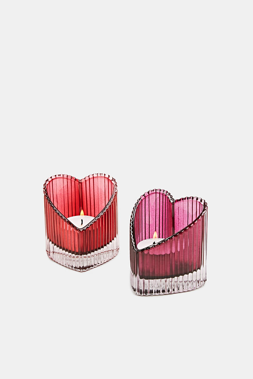 Two heart-shaped glass tealight holders
