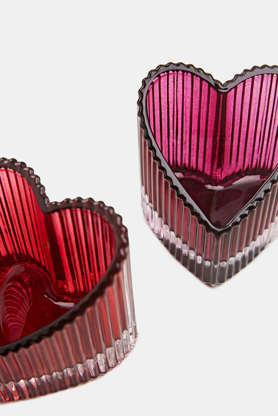 Two heart-shaped glass tealight holders, PINK, detail image number 2
