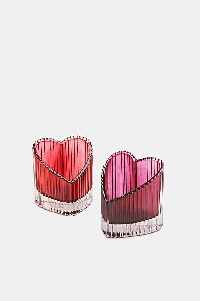 Two heart-shaped glass tealight holders