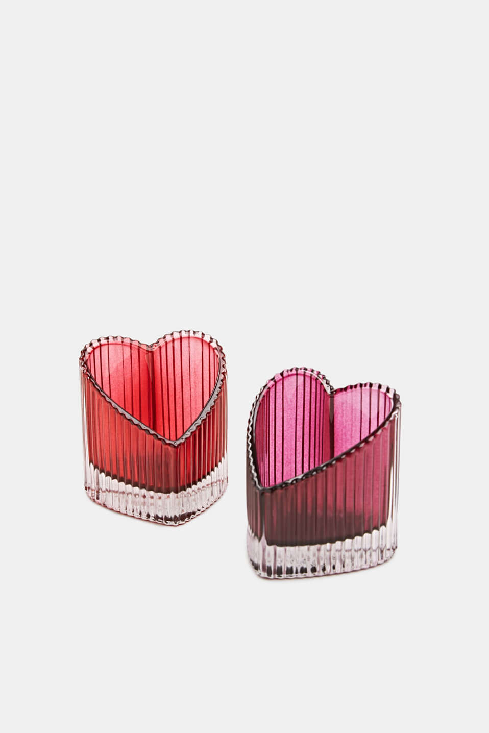 Two heart-shaped glass tealight holders, PINK, detail image number 1