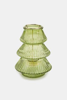 Tealight holder made of glass, GREEN, detail
