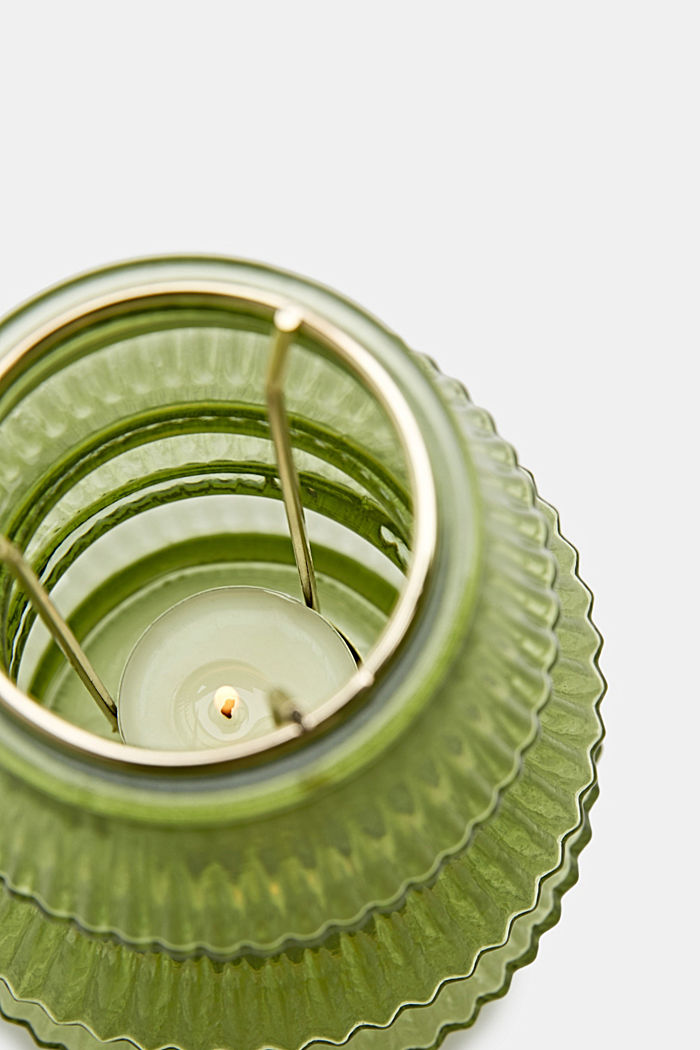 Tealight holder made of glass, GREEN, detail image number 2