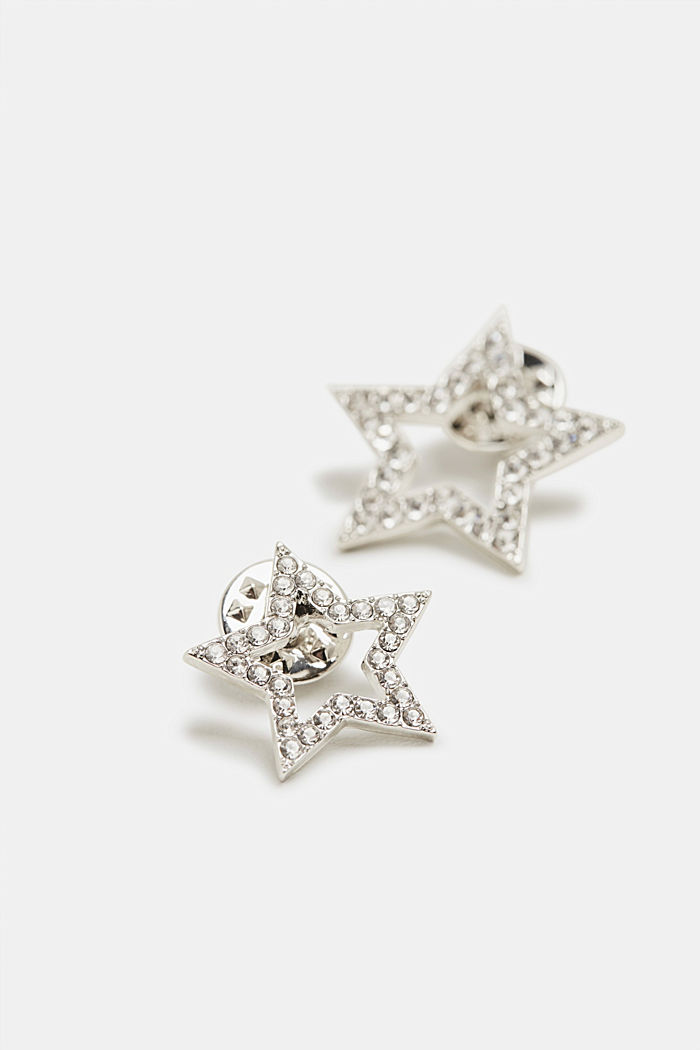 Set of two metal pins with facet-cut stones, SILVER, detail image number 1