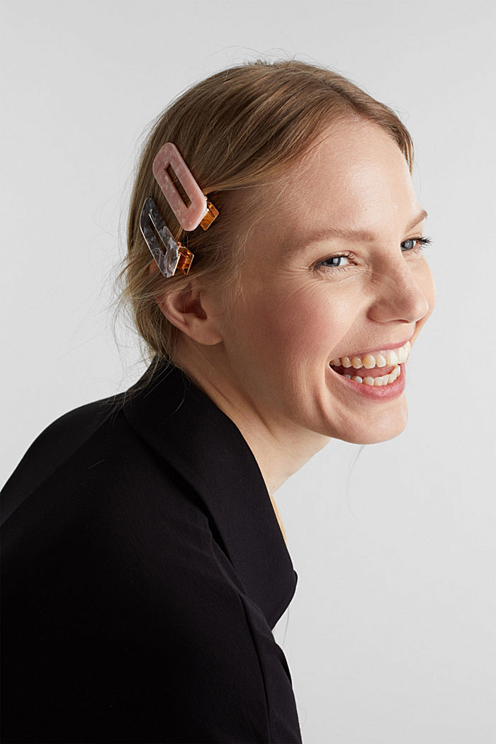 Set of three: hair clips in a mother-of-pearl look, MULTICOLOR, detail image number 2