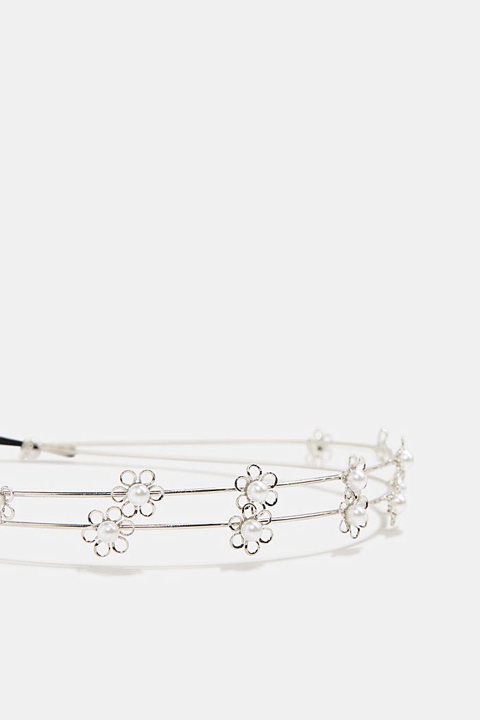 Hairband with floral artificial pearl embellishment, SILVER, detail image number 1