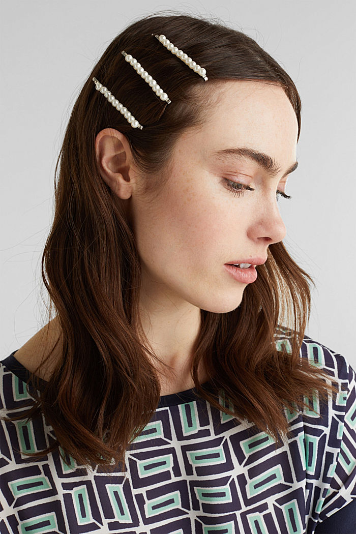 Triple pack of hair clips, WHITE, detail image number 2