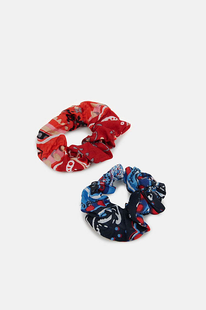 Two pack of scrunchies, BLUE/RED, detail image number 0