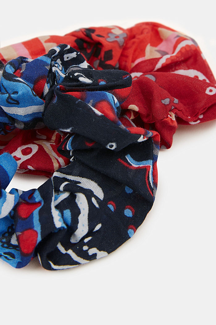Two pack of scrunchies, BLUE/RED, detail image number 1