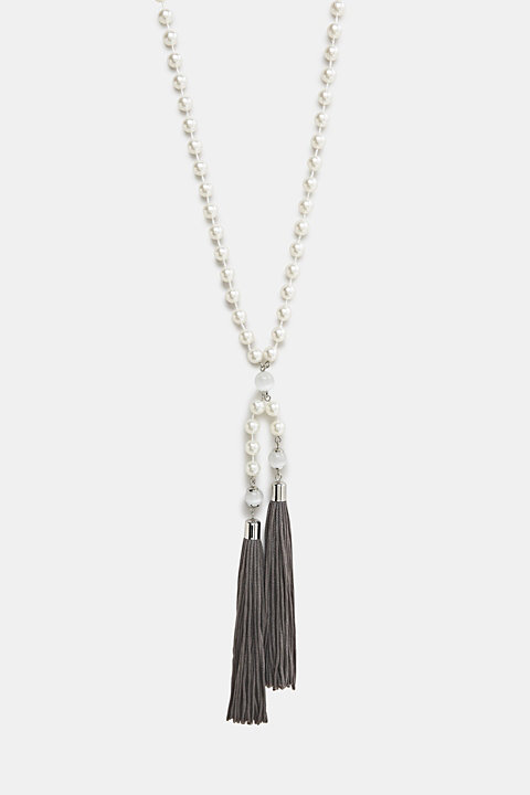 Faux pearl necklace with tassels