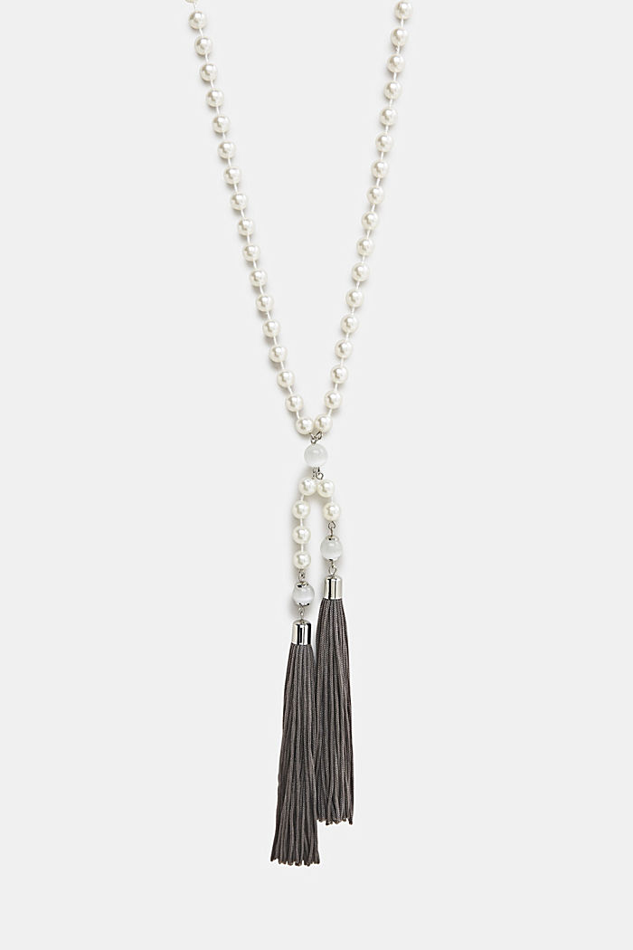 Faux pearl necklace with tassels, ONE COLOUR, detail image number 0